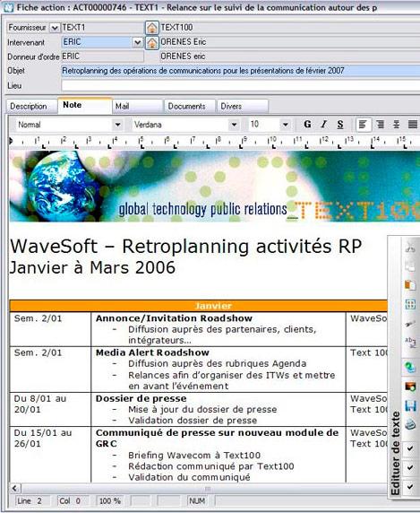 Une fiche action dans WaveSoft GRC