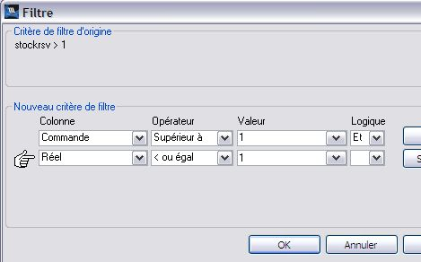 wavesoft gestion: filtres des données d'une liste