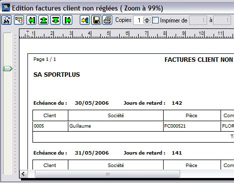 wavesoft gestion commerciale�: �tat des factures non pay�es