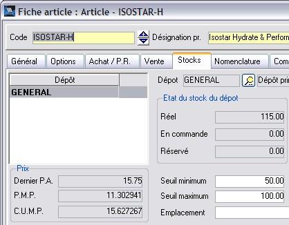 wavesoft gestion: fiche article avec les dépôts