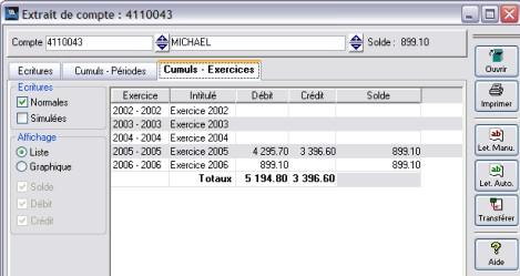 Extrait de compte d'une fiche client de wavesoft gestioncommerciale