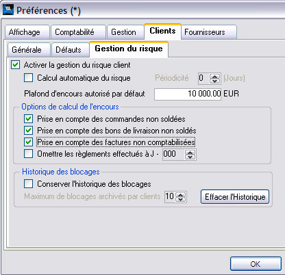 WaveSoft GRC : paramétrages de l'encours client