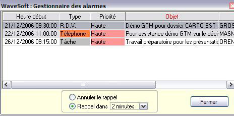 Gestion des alarmes dans WaveSoft GRC *