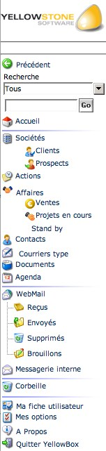 yellowbox crm : le menu
