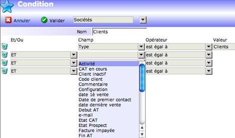 yellowbox CRM: gestion des tables et des champs