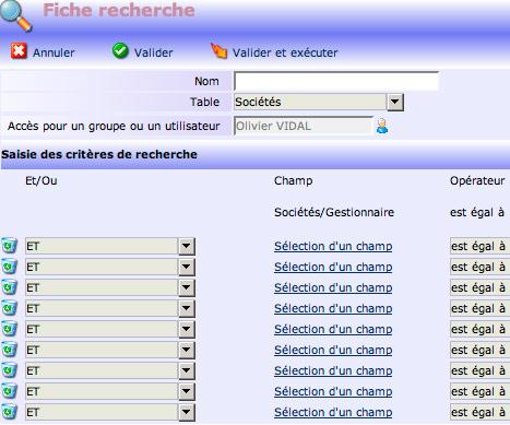 yellowbox CRM: fiche de recherche