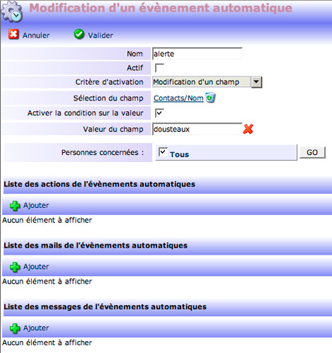 yellowbox CRM : Modification d'un évènement automatique