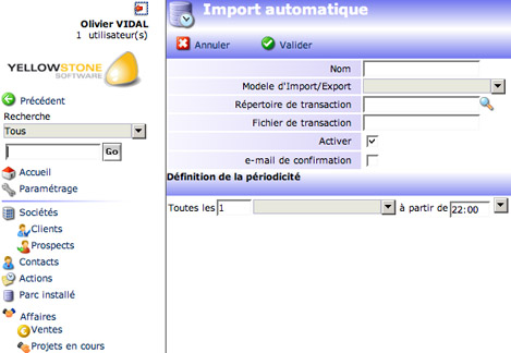 yellowbox CRM : import automatique