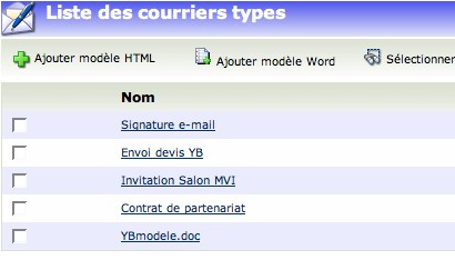 yellowbox CRM : les courriers types